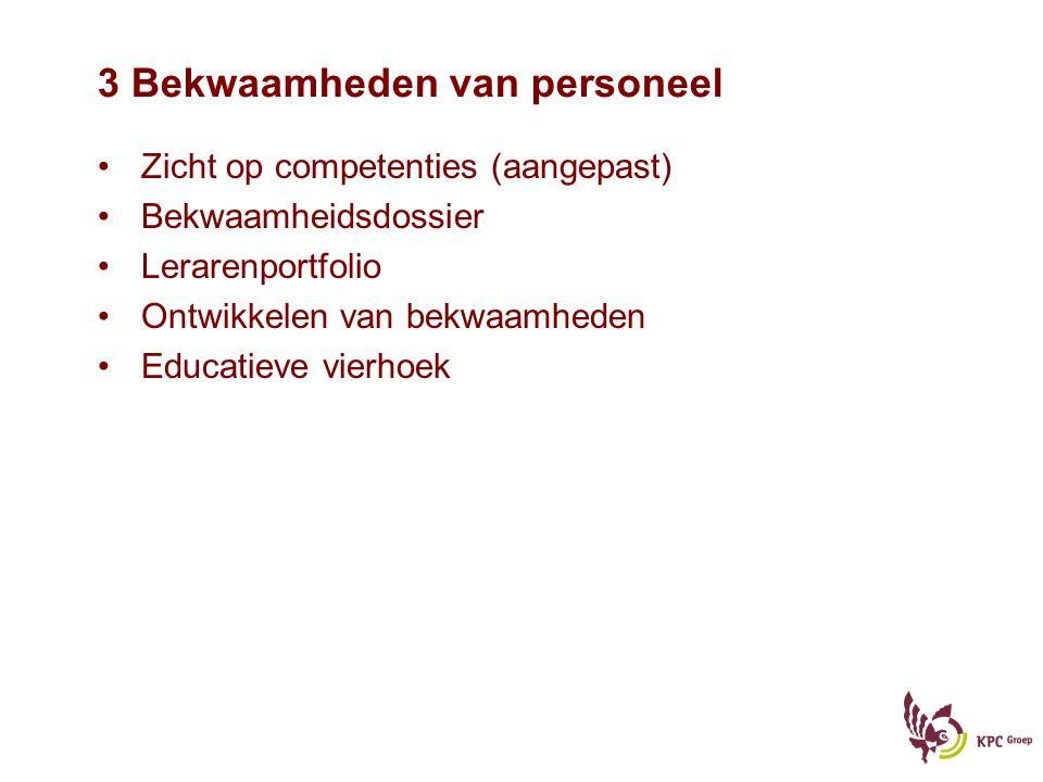 3 Bekwaamheden van personeel Zicht op competenties (aangepast) Bekwaamheidsdossier Lerarenportfolio Ontwikkelen van bekwaamheden Educatieve vierhoek