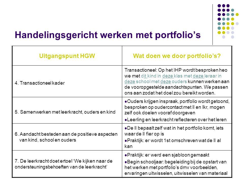 Handelingsgericht werken met portfolio's Uitgangspunt HGWWat doen we door portfolio's? 4. Transactioneel kader Transactioneel: Op het IHP wordt bespro