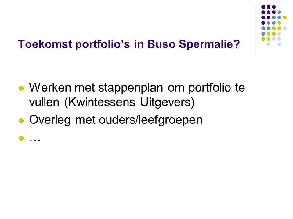 Toekomst portfolio's in Buso Spermalie? Werken met stappenplan om portfolio te vullen (Kwintessens Uitgevers) Overleg met ouders/leefgroepen …
