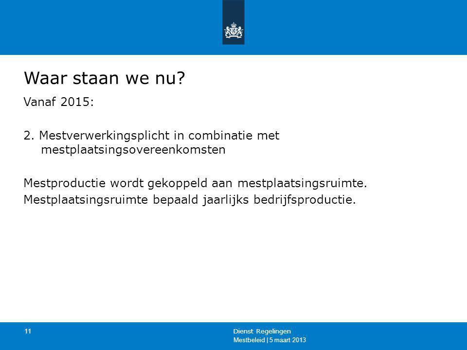 Mestbeleid | 5 maart 2013 Dienst Regelingen 11 Waar staan we nu? Vanaf 2015: 2. Mestverwerkingsplicht in combinatie met mestplaatsingsovereenkomsten M