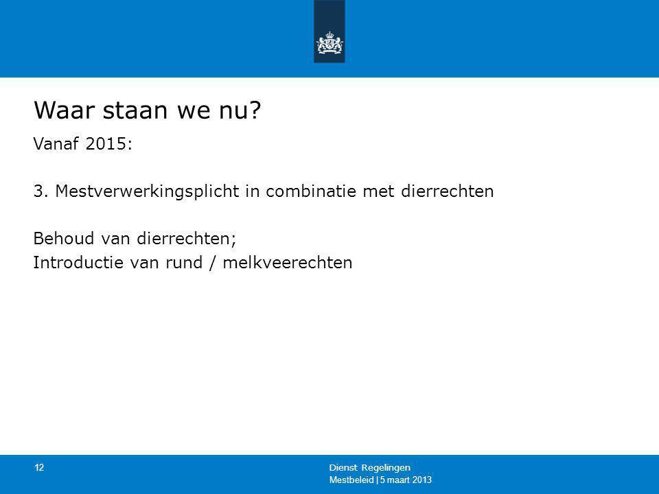 Mestbeleid | 5 maart 2013 Dienst Regelingen 12 Waar staan we nu? Vanaf 2015: 3. Mestverwerkingsplicht in combinatie met dierrechten Behoud van dierrec