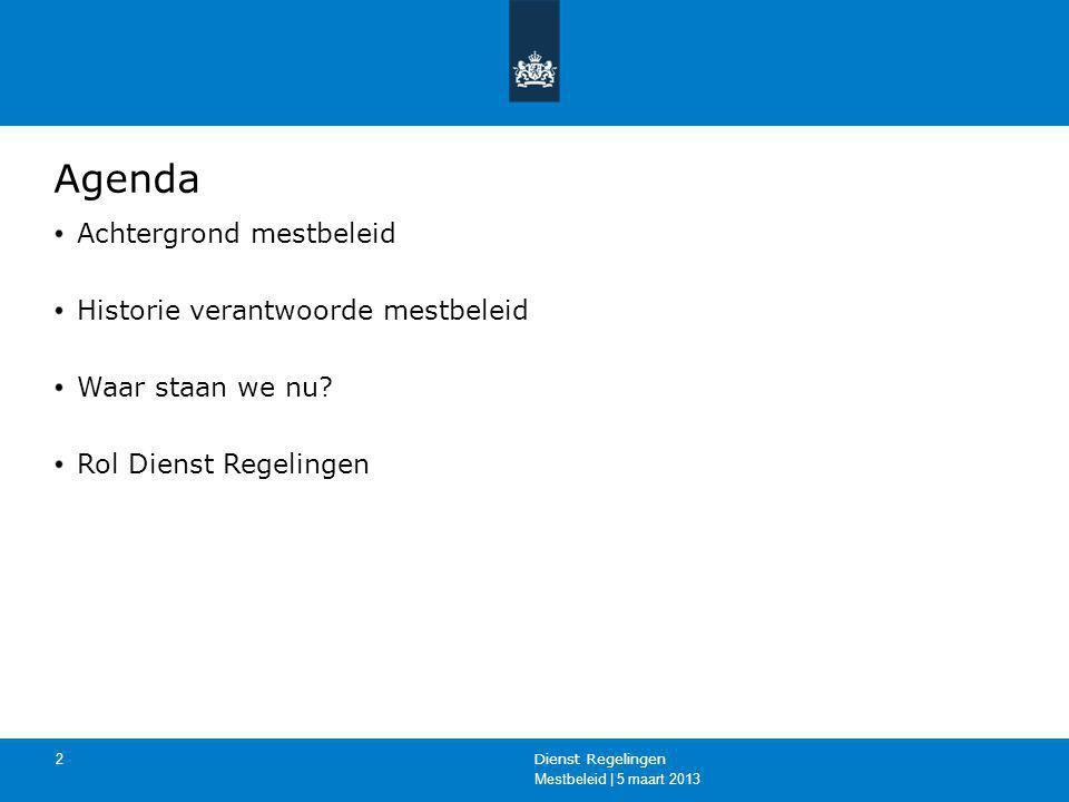 Mestbeleid | 5 maart 2013 Dienst Regelingen 2 Agenda Achtergrond mestbeleid Historie verantwoorde mestbeleid Waar staan we nu? Rol Dienst Regelingen