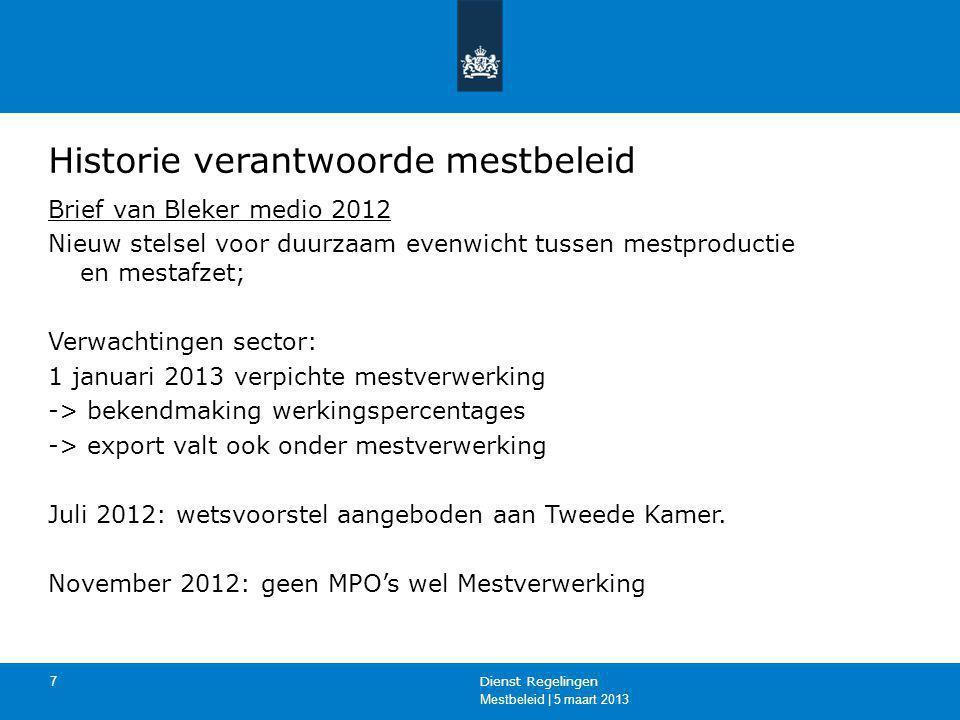 Mestbeleid | 5 maart 2013 Dienst Regelingen 8 Historie verantwoorde mestbeleid Vallen kabinet; wisselingen staatssecretarissen Brief Dijksma 18 januari 2013