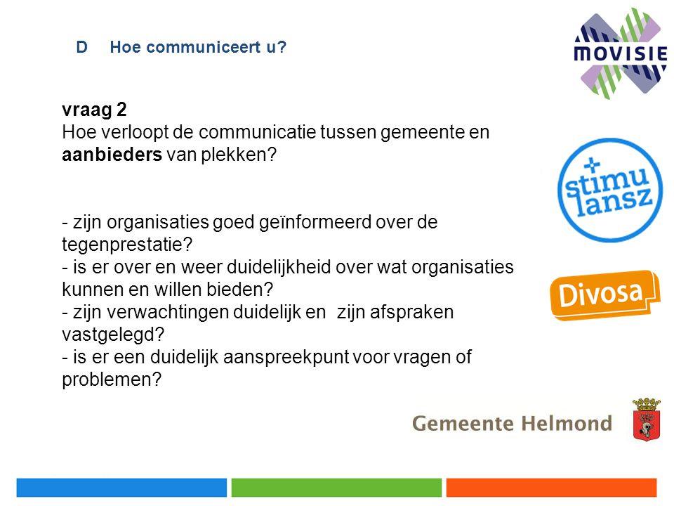 vraag 2 Hoe verloopt de communicatie tussen gemeente en aanbieders van plekken? - zijn organisaties goed geïnformeerd over de tegenprestatie? - is er