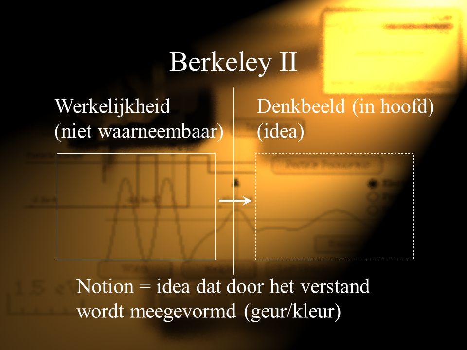Berkeley II Werkelijkheid (niet waarneembaar) Denkbeeld (in hoofd) (idea) Notion = idea dat door het verstand wordt meegevormd (geur/kleur)