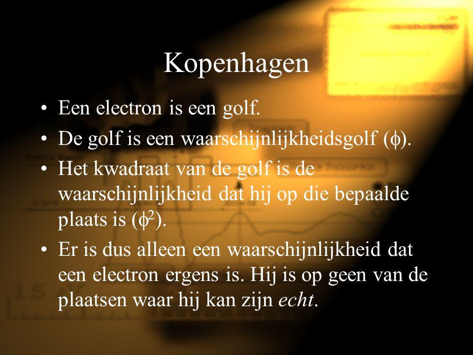 Kopenhagen Een electron is een golf. De golf is een waarschijnlijkheidsgolf (  ). Het kwadraat van de golf is de waarschijnlijkheid dat hij op die be