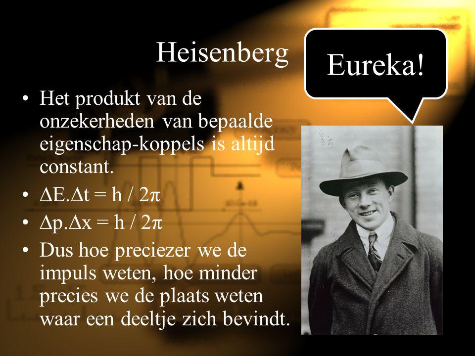 Heisenberg Het produkt van de onzekerheden van bepaalde eigenschap-koppels is altijd constant.  E.  t = h / 2π  p.  x = h / 2π Dus hoe preciezer w