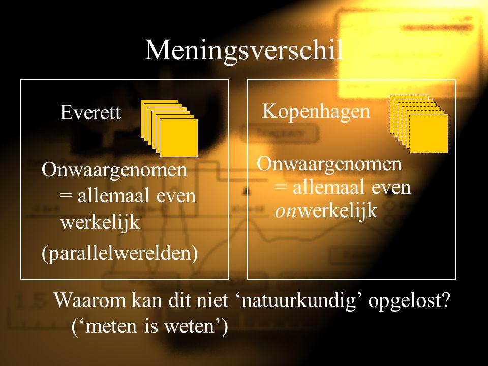Meningsverschil Everett Onwaargenomen = allemaal even werkelijk (parallelwerelden) Kopenhagen Onwaargenomen = allemaal even onwerkelijk Waarom kan dit
