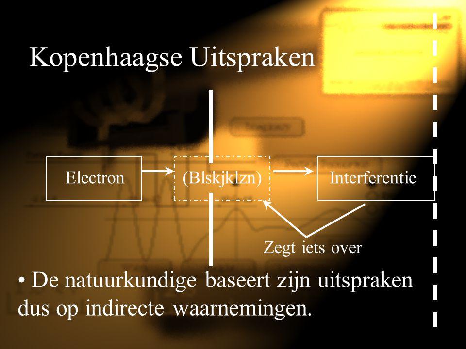 Kopenhaagse Uitspraken Electron De natuurkundige baseert zijn uitspraken dus op indirecte waarnemingen. (Blskjklzn)Interferentie Zegt iets over