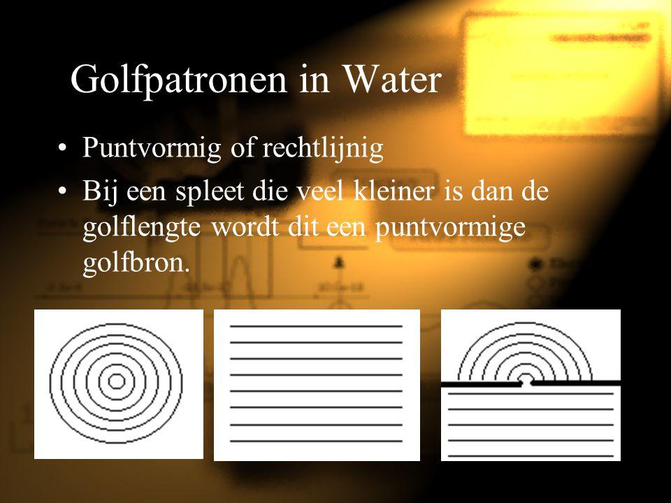 Golfpatronen in Water Puntvormig of rechtlijnig Bij een spleet die veel kleiner is dan de golflengte wordt dit een puntvormige golfbron.