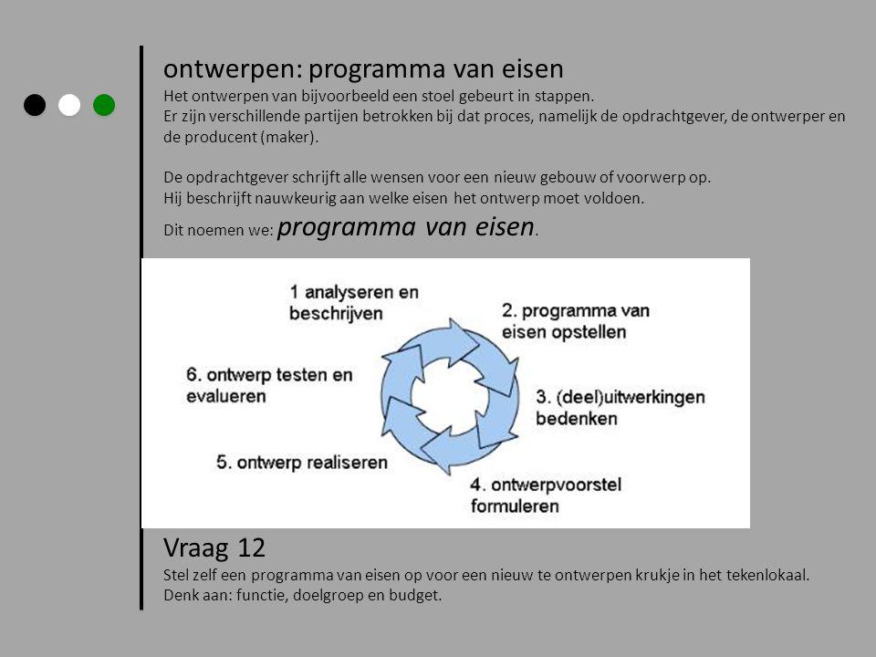 ontwerpen: programma van eisen Het ontwerpen van bijvoorbeeld een stoel gebeurt in stappen. Er zijn verschillende partijen betrokken bij dat proces, n