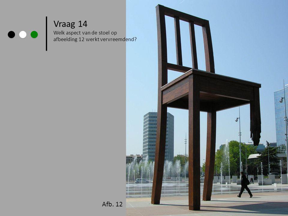 Vraag 14 Welk aspect van de stoel op afbeelding 12 werkt vervreemdend? Afb. 12