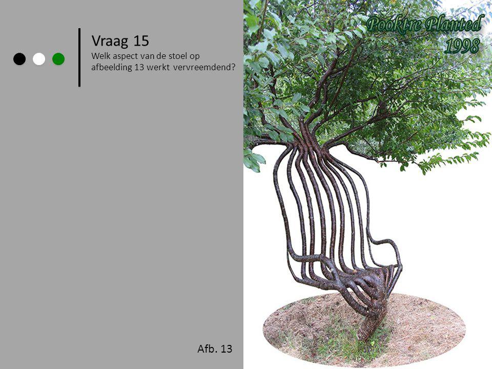 Afb. 13 Vraag 15 Welk aspect van de stoel op afbeelding 13 werkt vervreemdend?