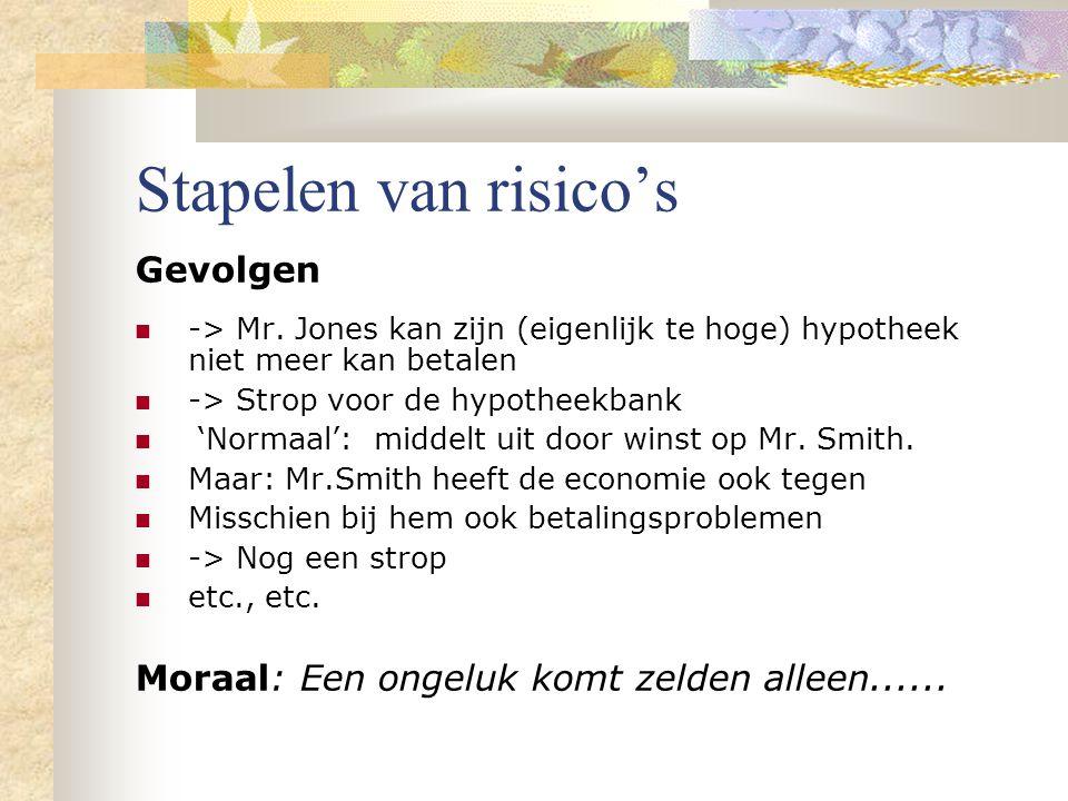 Stapelen van risico's Gevolgen -> Mr. Jones kan zijn (eigenlijk te hoge) hypotheek niet meer kan betalen -> Strop voor de hypotheekbank 'Normaal': mid