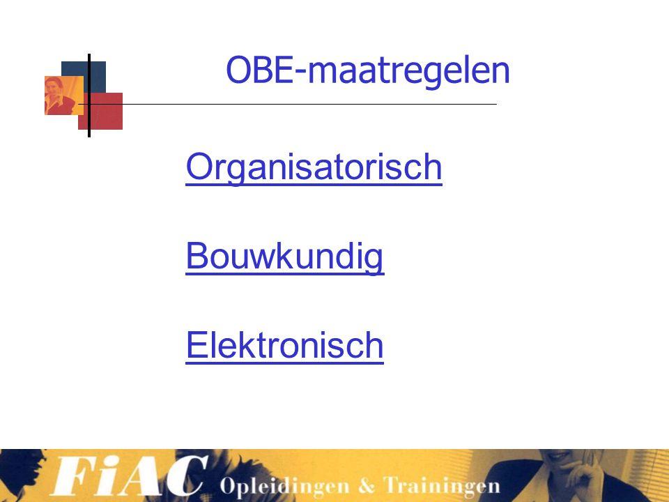OBE-maatregelen www.vmb.biz Organisatorisch Bouwkundig Elektronisch