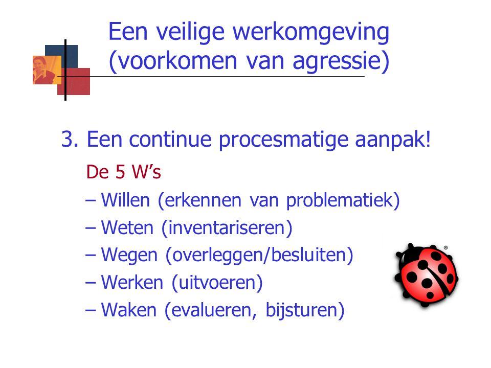 Een veilige werkomgeving (voorkomen van agressie) 3. Een continue procesmatige aanpak! De 5 W's –Willen (erkennen van problematiek) –Weten (inventaris