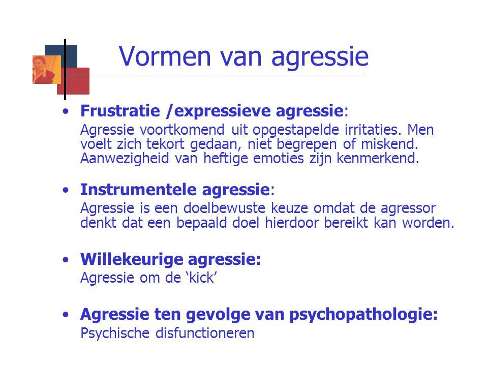 Vormen van agressie Frustratie /expressieve agressie: Agressie voortkomend uit opgestapelde irritaties. Men voelt zich tekort gedaan, niet begrepen of