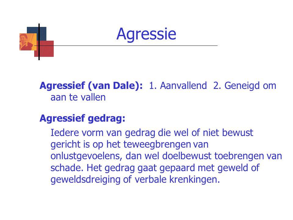 Agressie Agressief (van Dale): 1. Aanvallend 2. Geneigd om aan te vallen Agressief gedrag: Iedere vorm van gedrag die wel of niet bewust gericht is op