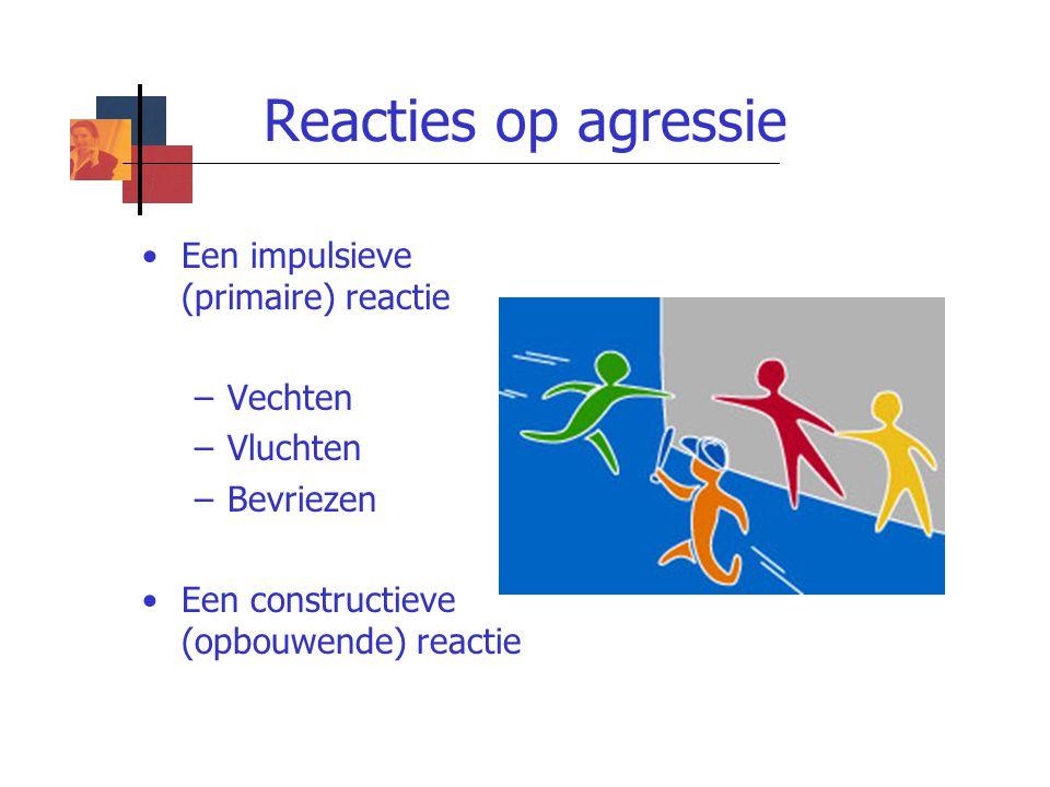 Reacties op agressie Een impulsieve (primaire) reactie –Vechten –Vluchten –Bevriezen Een constructieve (opbouwende) reactie