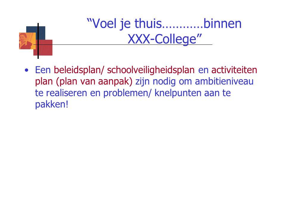 """""""Voel je thuis…………binnen XXX-College"""" Een beleidsplan/ schoolveiligheidsplan en activiteiten plan (plan van aanpak) zijn nodig om ambitieniveau te rea"""