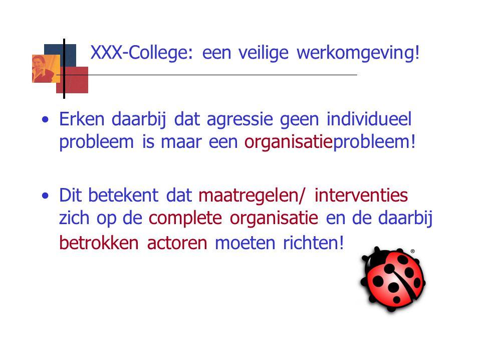 XXX-College: een veilige werkomgeving! Erken daarbij dat agressie geen individueel probleem is maar een organisatieprobleem! Dit betekent dat maatrege