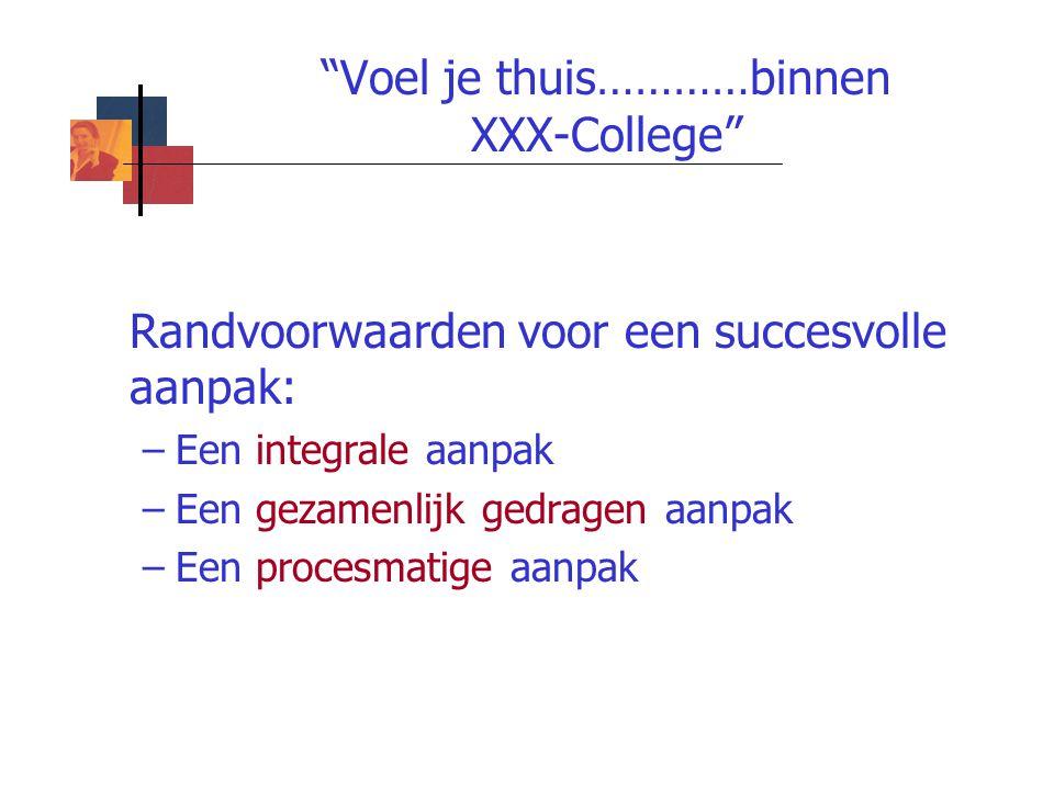 """""""Voel je thuis…………binnen XXX-College"""" Randvoorwaarden voor een succesvolle aanpak: –Een integrale aanpak –Een gezamenlijk gedragen aanpak –Een procesm"""