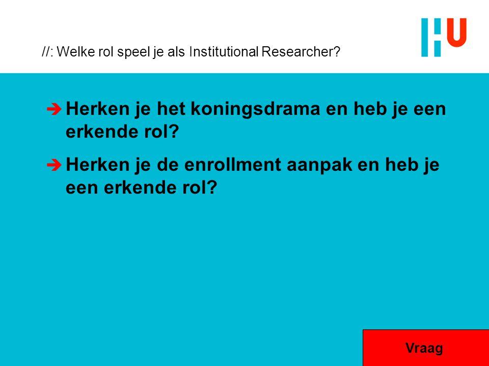//: Welke rol speel je als Institutional Researcher?  Herken je het koningsdrama en heb je een erkende rol?  Herken je de enrollment aanpak en heb j