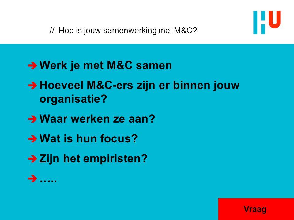 //: Hoe is jouw samenwerking met M&C?  Werk je met M&C samen  Hoeveel M&C-ers zijn er binnen jouw organisatie?  Waar werken ze aan?  Wat is hun fo