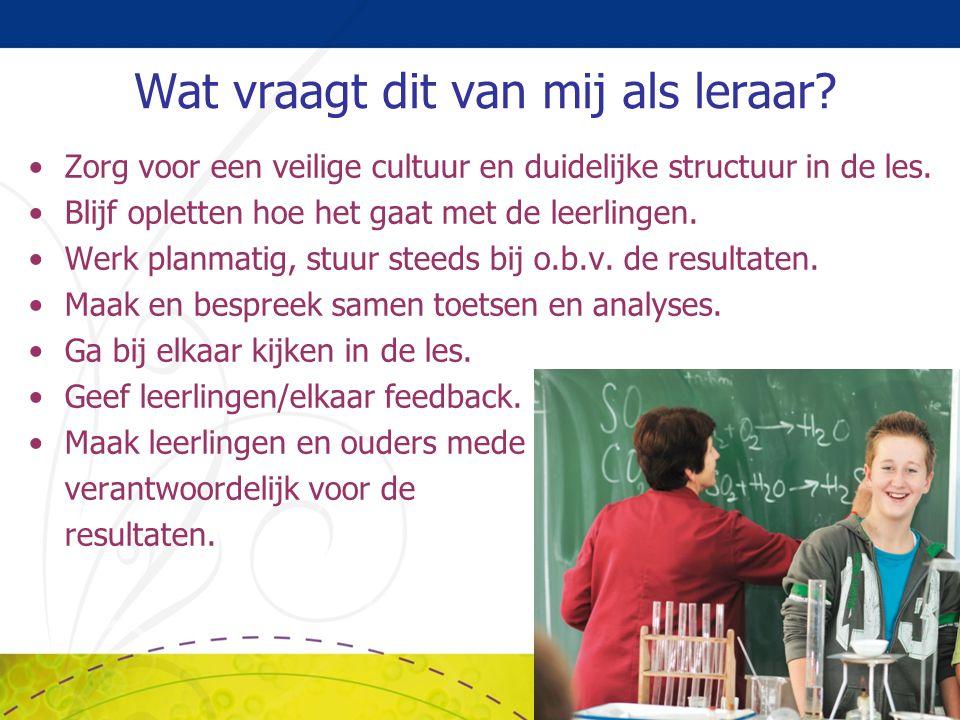 Wat vraagt dit van mij als leraar? Zorg voor een veilige cultuur en duidelijke structuur in de les. Blijf opletten hoe het gaat met de leerlingen. Wer