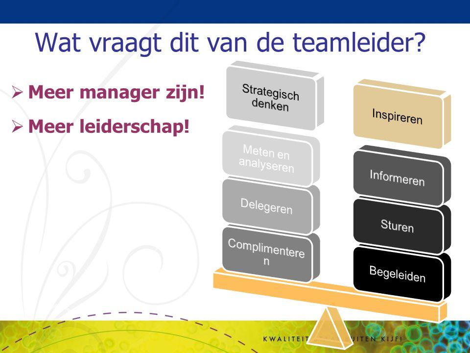 Wat vraagt dit van de teamleider?  Meer manager zijn!  Meer leiderschap!