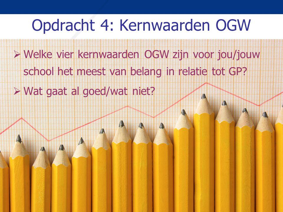 Opdracht 4: Kernwaarden OGW  Welke vier kernwaarden OGW zijn voor jou/jouw school het meest van belang in relatie tot GP?  Wat gaat al goed/wat niet