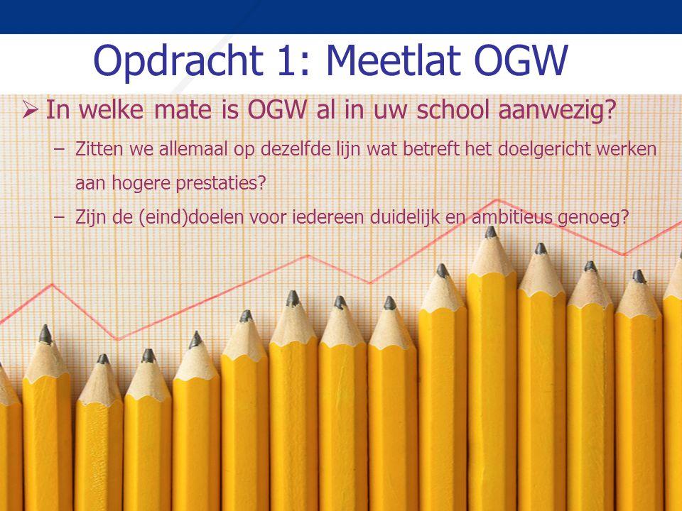 Opdracht 1: Meetlat OGW  In welke mate is OGW al in uw school aanwezig? –Zitten we allemaal op dezelfde lijn wat betreft het doelgericht werken aan h