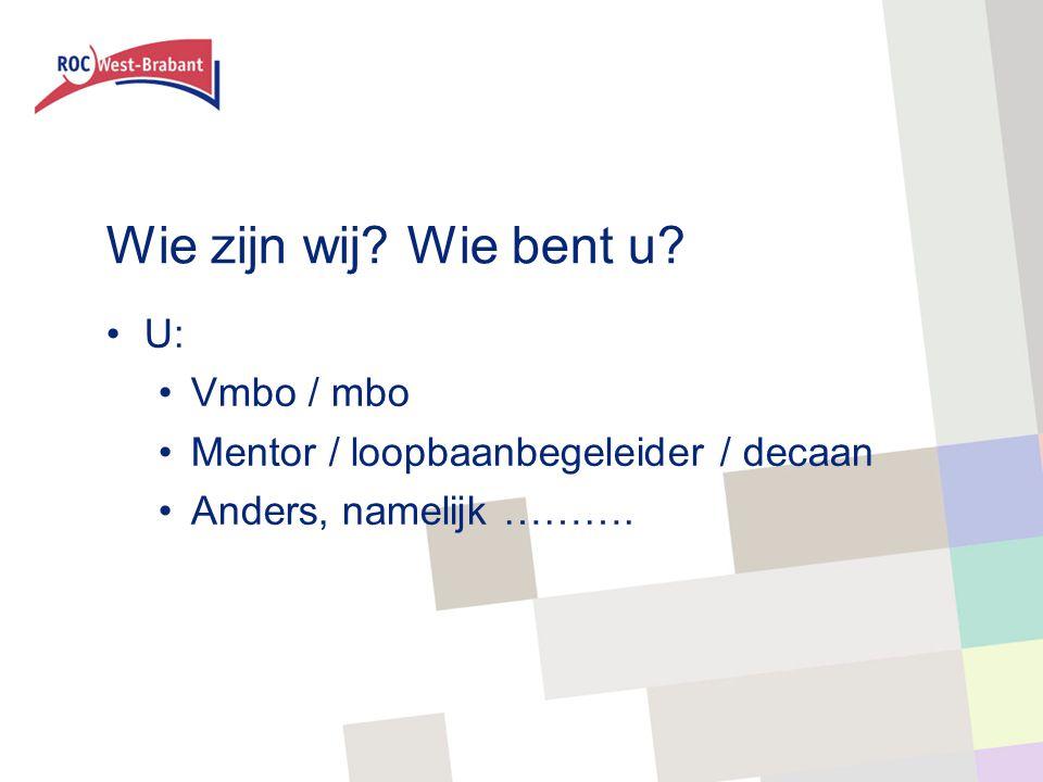 Wie zijn wij? Wie bent u? U: Vmbo / mbo Mentor / loopbaanbegeleider / decaan Anders, namelijk ……….
