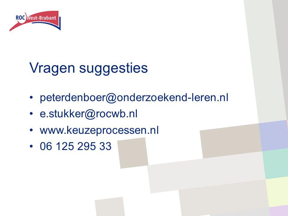 Vragen suggesties peterdenboer@onderzoekend-leren.nl e.stukker@rocwb.nl www.keuzeprocessen.nl 06 125 295 33