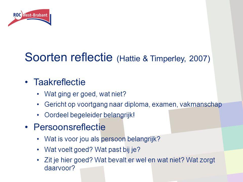 Soorten reflectie (Hattie & Timperley, 2007) Taakreflectie Wat ging er goed, wat niet? Gericht op voortgang naar diploma, examen, vakmanschap Oordeel