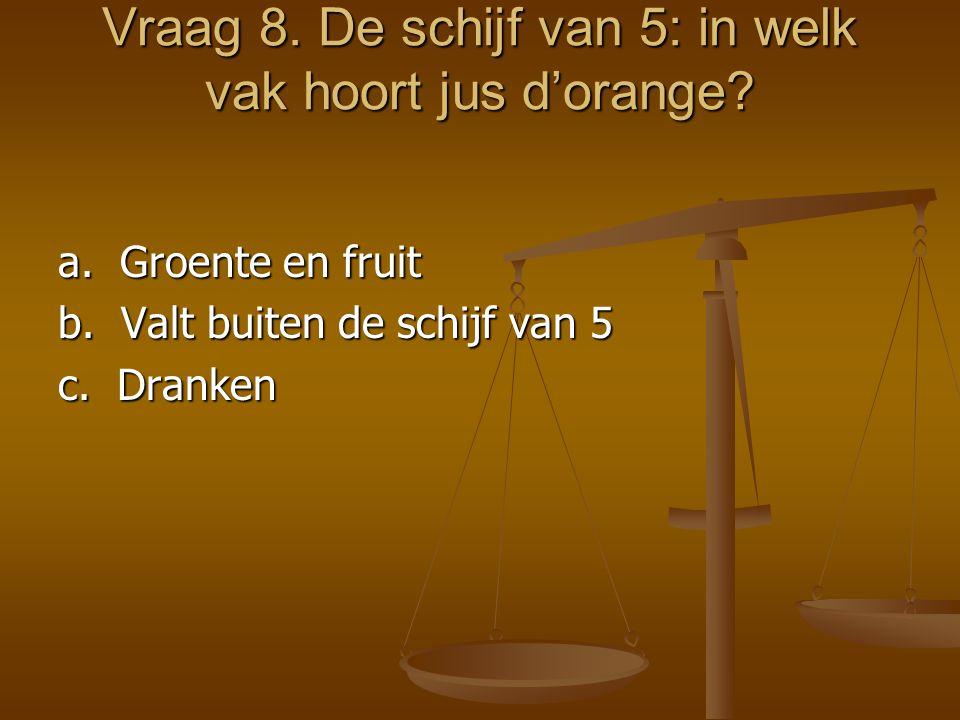 Vraag 8. De schijf van 5: in welk vak hoort jus d'orange? a. Groente en fruit b. Valt buiten de schijf van 5 c. Dranken