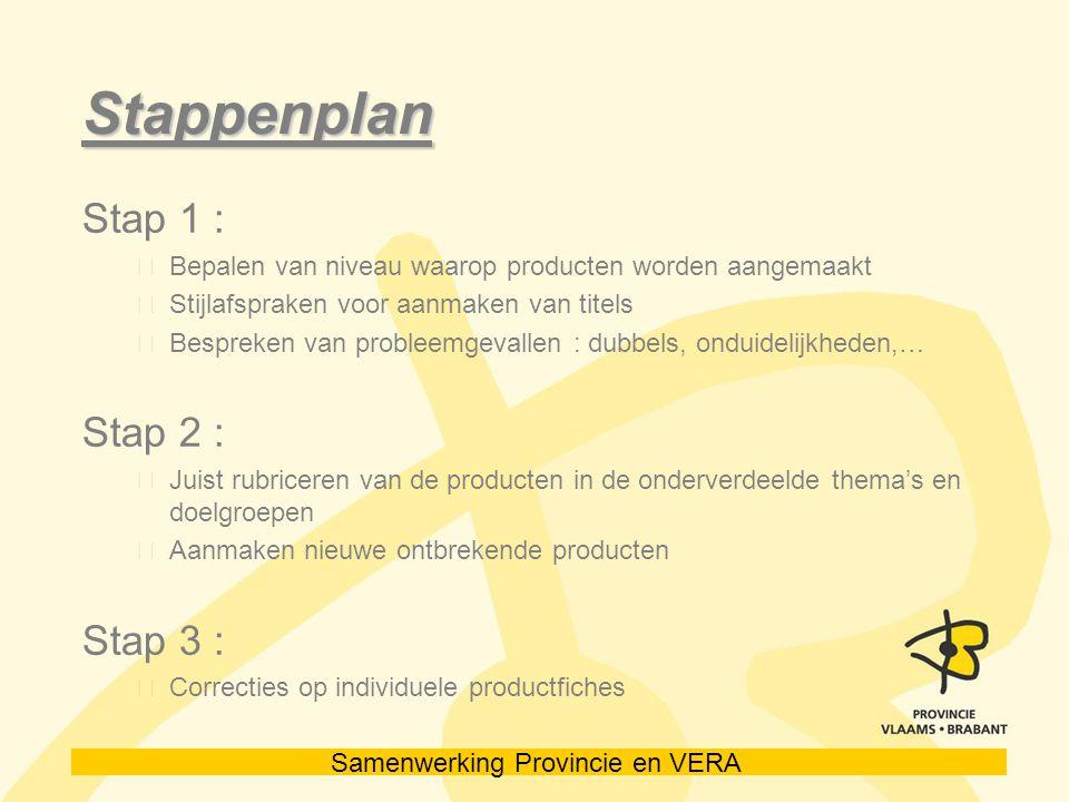 Samenwerking Provincie en VERA Stappenplan Stap 1 : Bepalen van niveau waarop producten worden aangemaakt Stijlafspraken voor aanmaken van titels Bespreken van probleemgevallen : dubbels, onduidelijkheden,… Stap 2 : Juist rubriceren van de producten in de onderverdeelde thema's en doelgroepen Aanmaken nieuwe ontbrekende producten Stap 3 : Correcties op individuele productfiches