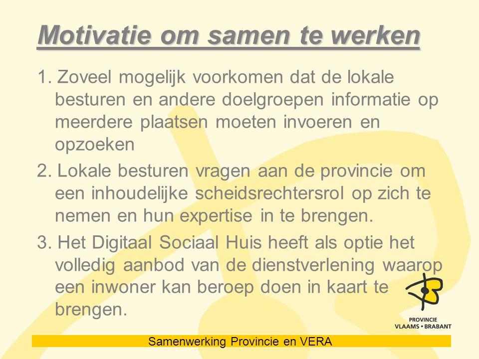 Samenwerking Provincie en VERA Motivatie om samen te werken 1.