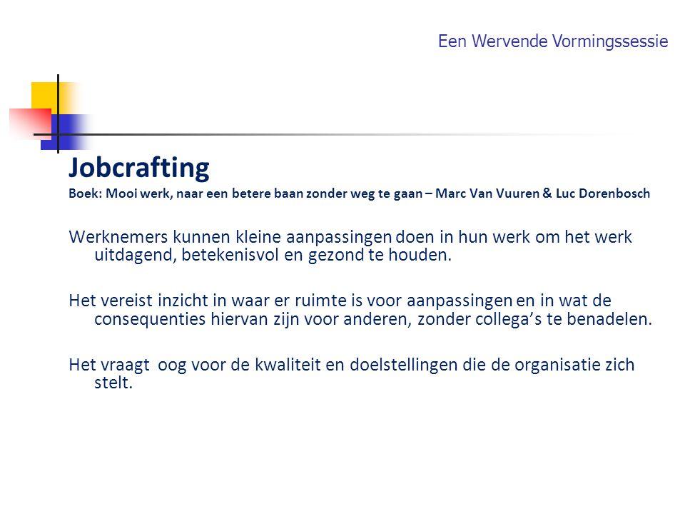 Jobcrafting Boek: Mooi werk, naar een betere baan zonder weg te gaan – Marc Van Vuuren & Luc Dorenbosch Werknemers kunnen kleine aanpassingen doen in