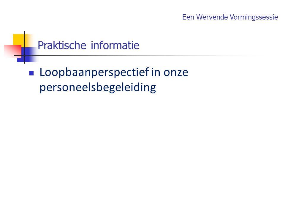 Loopbaanperspectief in onze personeelsbegeleiding Praktische informatie Een Wervende Vormingssessie