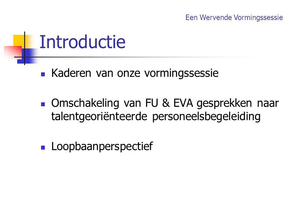 Introductie Kaderen van onze vormingssessie Omschakeling van FU & EVA gesprekken naar talentgeoriënteerde personeelsbegeleiding Loopbaanperspectief Ee