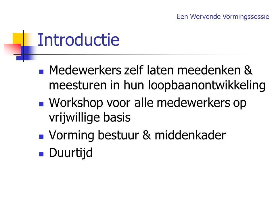 Introductie Medewerkers zelf laten meedenken & meesturen in hun loopbaanontwikkeling Workshop voor alle medewerkers op vrijwillige basis Vorming bestu
