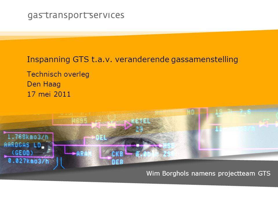 Inspanning GTS t.a.v. veranderende gassamenstelling Technisch overleg Den Haag 17 mei 2011 Wim Borghols namens projectteam GTS