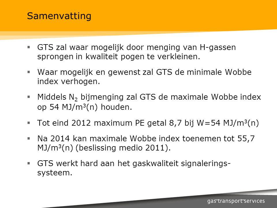 Samenvatting  GTS zal waar mogelijk door menging van H-gassen sprongen in kwaliteit pogen te verkleinen.  Waar mogelijk en gewenst zal GTS de minima