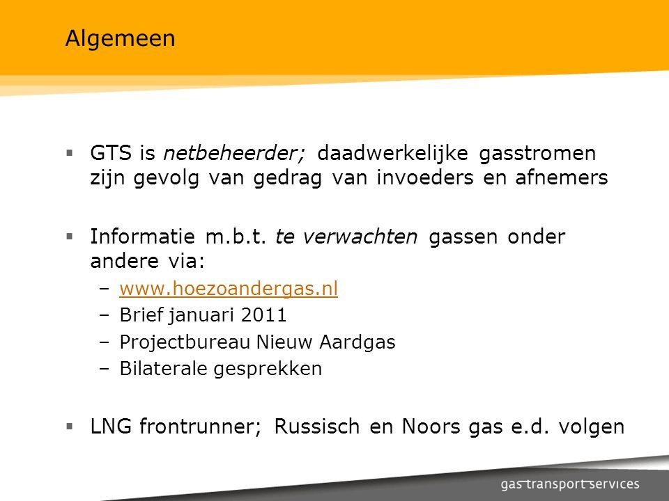 Algemeen  GTS is netbeheerder; daadwerkelijke gasstromen zijn gevolg van gedrag van invoeders en afnemers  Informatie m.b.t. te verwachten gassen on