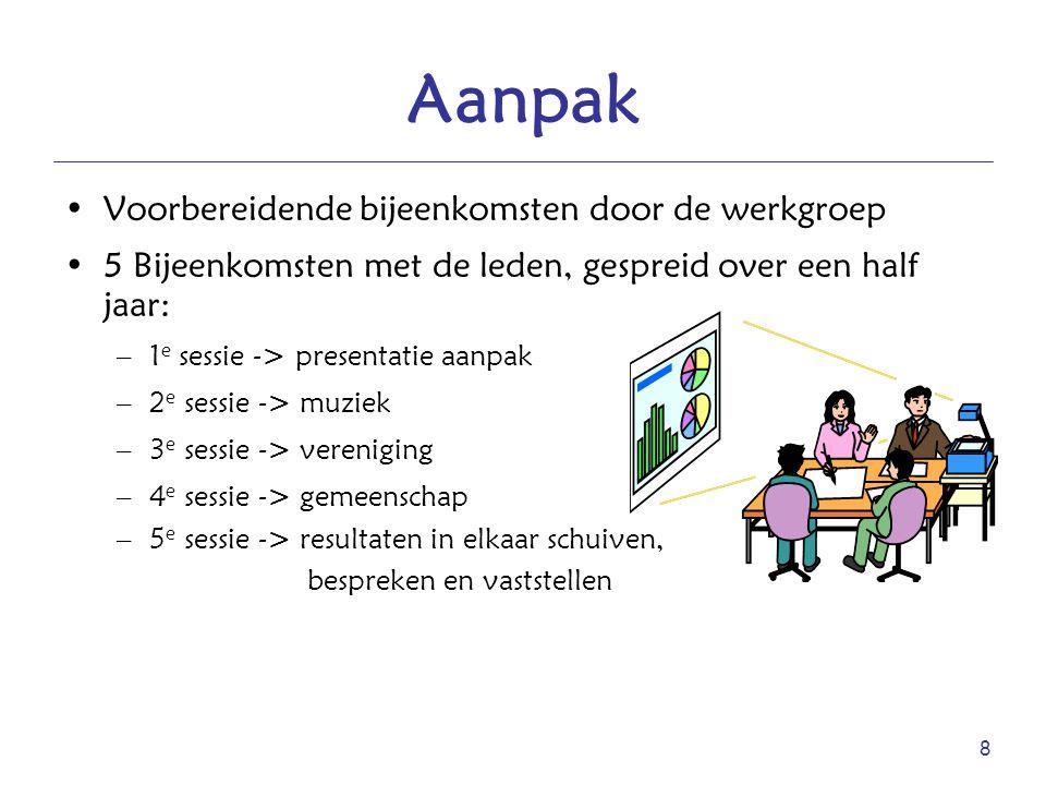 8 Aanpak Voorbereidende bijeenkomsten door de werkgroep 5 Bijeenkomsten met de leden, gespreid over een half jaar: –1 e sessie -> presentatie aanpak –