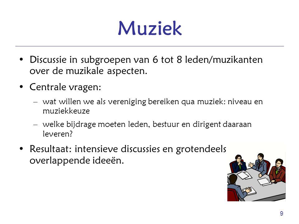 9 Muziek Discussie in subgroepen van 6 tot 8 leden/muzikanten over de muzikale aspecten. Centrale vragen: –wat willen we als vereniging bereiken qua m
