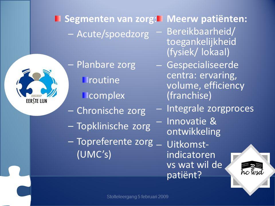 Stolteleergang 5 februari 2009 Segmenten van zorg: –Acute/spoedzorg –Planbare zorg routine complex –Chronische zorg –Topklinische zorg –Topreferente zorg (UMC's) Meerw patiënten: – Bereikbaarheid/ toegankelijkheid (fysiek/ lokaal) – Gespecialiseerde centra: ervaring, volume, efficiency (franchise) – Integrale zorgproces – Innovatie & ontwikkeling – Uitkomst- indicatoren vs wat wil de patiënt?
