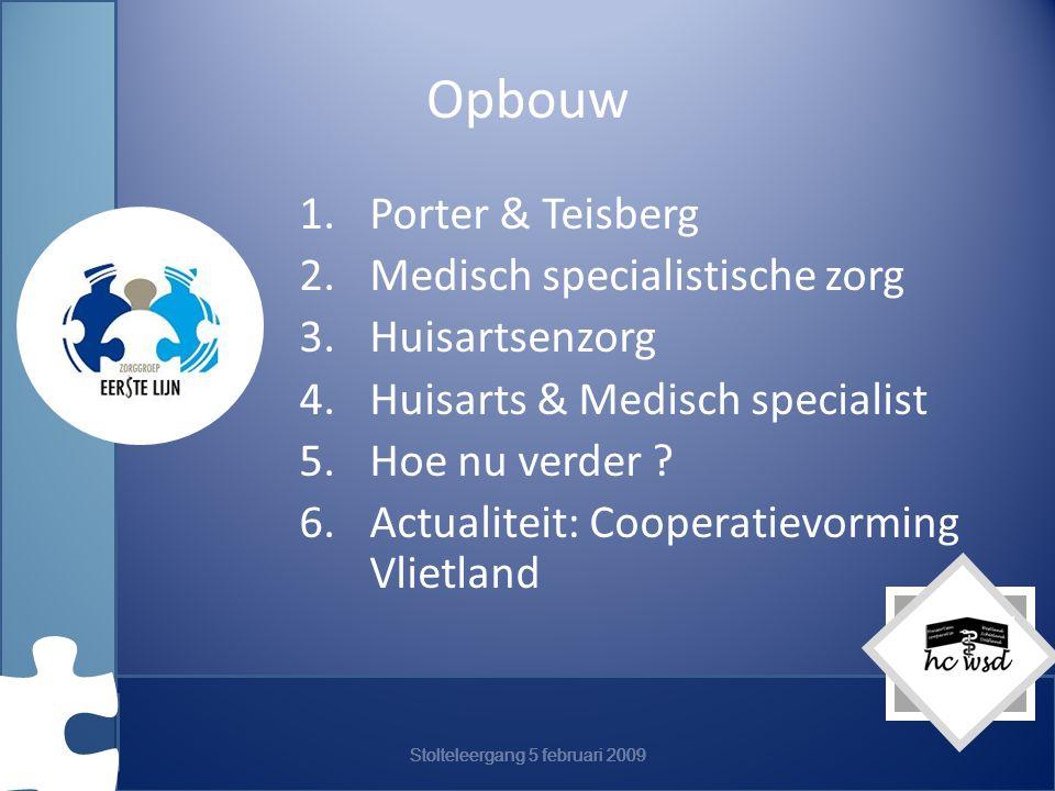 Stolteleergang 5 februari 2009 Opbouw 1.Porter & Teisberg 2.Medisch specialistische zorg 3.Huisartsenzorg 4.Huisarts & Medisch specialist 5.Hoe nu verder .
