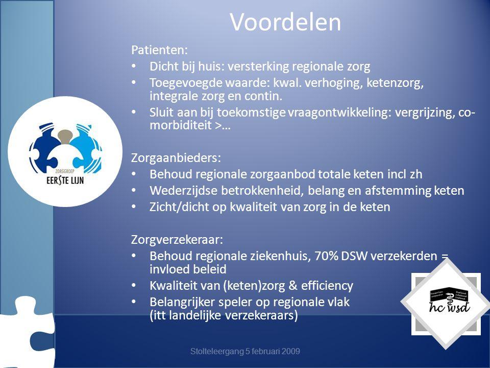 Stolteleergang 5 februari 2009 Voordelen Patienten: Dicht bij huis: versterking regionale zorg Toegevoegde waarde: kwal.